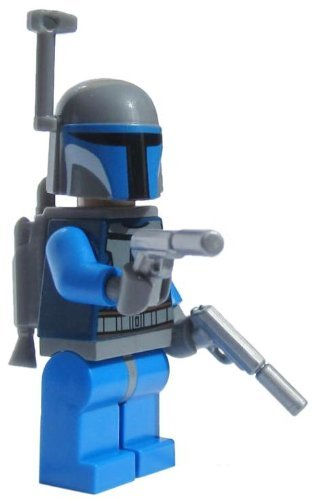 LEGO Star Wars Clone Wars Minifigure Mandalorian (Jango Fett) with dual SILVER Guns, Helmet Rangefinder and Rocket Jetpack (Comes exactly as shown)