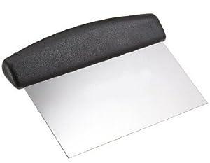 Scottish Dough Scraper Black Plastic Handle Stiff Metal Blade - 15.2cm Pastry Cooking
