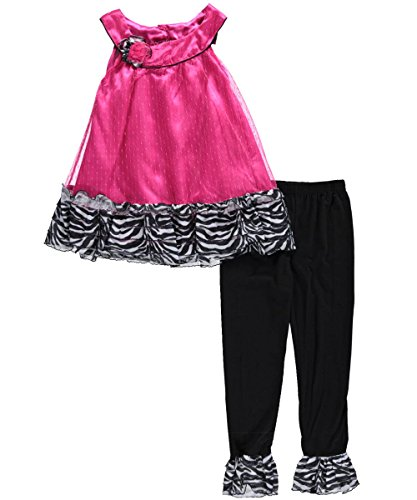 "Angel Face Little Girls' Toddler ""Zebra Dazzle"" 2-Piece Outfit"