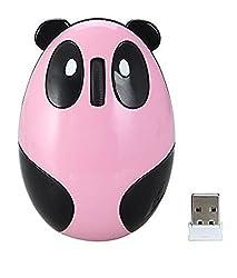 LingsFire Super Cute Wireless Optical Cartoon Panda Mouse Rechargeable Mini 2.4GHz Wireless Panda Desktop Laptop Unique Novel Portable Mouse(Pink)