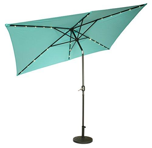 Patio Umbrella Alternative: Trademark Innovations UMBLED-RECT-TEAL Rectangular Solar