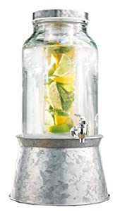 Durable Glass Infusion Beverage Dispenser with Spigot and Stand 1.5 Gallons ~ Galvanized... by GFSmart