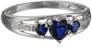 Three Heart Shape .018 Diamonds cttw in Silver Created Sapphire Ring, Size 8