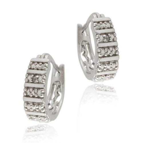 Sterling Silver Diamond Accent Half Hoop Filigree Earrings