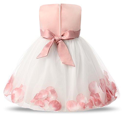 NNJXD Girl Tutu Flower Petals Bow Bridal Dress for Toddler Girl Size 4-9 Months Pink