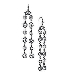 1928 Jewelry Swarovski Womens Black-Tone Elements Double Linear Drop Earrings