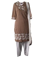 Polka Dot Printed FIne Cotton Kameez With White Floral Resham And Cut Work Embroidered Salwar Suit