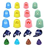 Topus Guitar Finger Protectors, Finger Thumb Picks, Guitar Picks for Acoustic Guitar Starter and Strings Instrument (Mixed color)