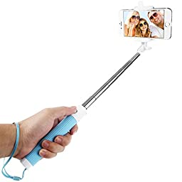 Dealgadgets Selfie Stick with Built-in Bluetooth Remote Shutter for Smartphones - Blue