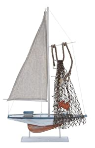 Sailboat Wood Display on Stand Distressed Finish Red Crab and Shell Net Accents