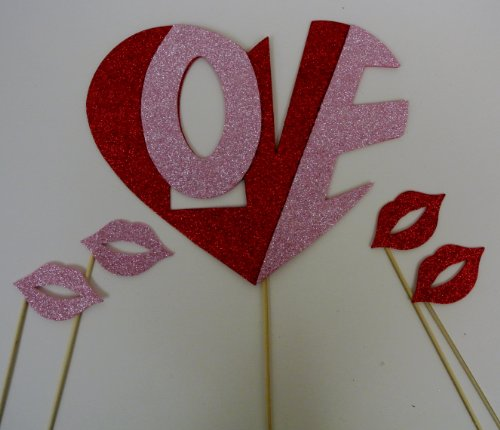 5 Pc Photo Booth Party Props Mustache on a Stick Valentines Day Heart with the Word Love and Lips