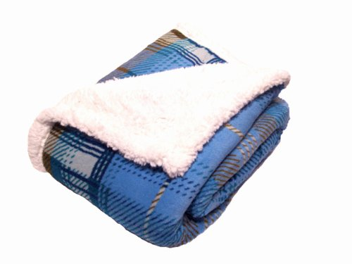 Northpoint Wilson Plaid Pattern Color Reverisible Mirco Mink To Mirco Sherpa Throw, Blue Mix front-897364