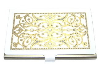 LZ New York Swarovski Crystallized Edwardian Two Tone White & Gold Stainless Steel Business Card Case for Men and Women