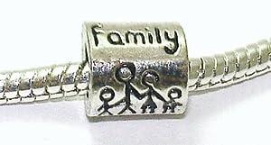 """Family"" Spacer - Silver Plated Charm Bead - fits Pandora, Chamilia etc style Bracelets - SpangleBead"