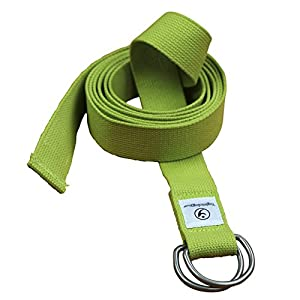 THE Yoga Strap. 8 Foot Super Soft Durable No Slip D-Ring Belt Strap Best for Stretching, Poses, Increasing Flexibility, Balance and Compression for Restorative Yoga.