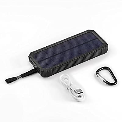 [15000mah Solar Panel Charger with 6LED Flashlight] Hallomall Portable Phone Charger Backup Power Pack, Dual USB Port External Battery Charger for Smart phones Camera and Other 5V USB Devices by Hallomall