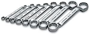 SK 86188 SuperKrome 8 Piece 12 Point Short and Deep 6-Millimeter to 20-Millimeter Offset Box End Wrench Set
