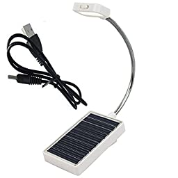 Jhua Flexible 3-LED Mini Solar Reading Light Multi Purpose Solar Powered Lamp with USB Charger Reading/ Table/PC Portable solar LED Power-saving Lamp Emergency Light