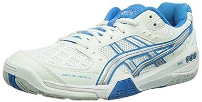 Asics GEL-BLADE 4, Damen Badmintonschuhe, Weiß (WHITE/DIVA BLUE/LIGHTNING 0141), 37 EU (5 Damen UK)