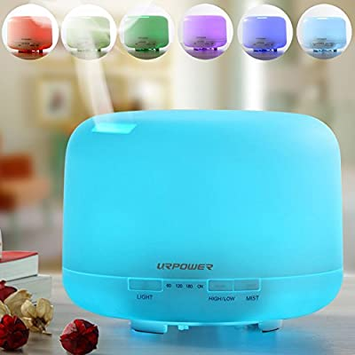 URPOWER 500ml Aromatherapy Essential Oil Diffuser Ultrasonic Air Humidifier with 4 Timer Settings 7 LED Color Changing Lamps, 10 Hours Continous Mist Mode Running - AUTO shut off
