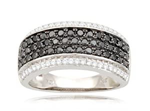 10k White Gold Band Style White and Black Diamond Ring (9/10 cttw, I-J Color, I2-I3 Clarity), Size 6