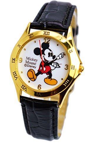 "Disney Unisex Watch Mickey Mouse ""Vintage"". Gold-Tone Analog Display. Black Band 9"". 0"
