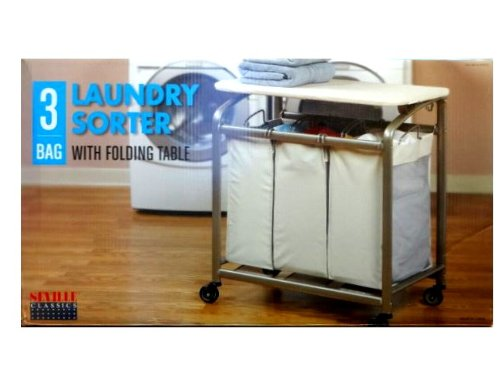 Seville Laundry Sorter 3 Bag with Folding Table