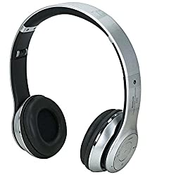 Micomy S-460 Wireless Bluetooth Headphone with Aux cable connector -Silver