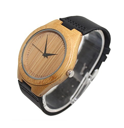 Topwell Bamboo Watch For Men With Genuine Leather Strap Black Band Round Quartz Men's Watches