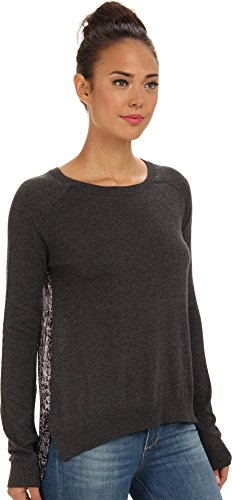 BCBGeneration Women's Like A Diamond Back Pullover Boatneck Sweater, Dark Heather Grey Combo, X-Small