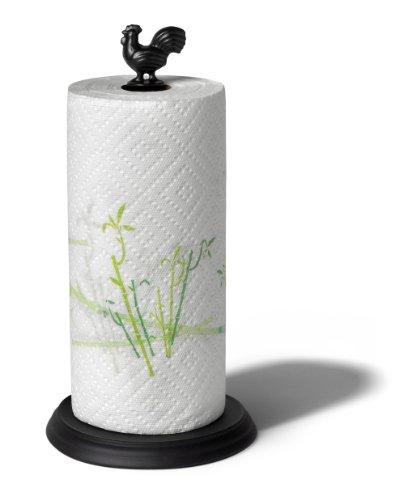 Spectrum 37110 Rooster Paper Towel Holder, Black
