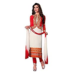 Neets Fashion Red & White Designer SemiStitched Suit