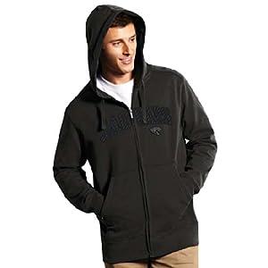 Jacksonville Jaguars Applique Full Zip Hooded Sweatshirt (Carbon Fiber) by Antigua