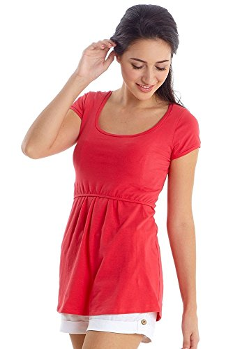 Organic Cotton Must Have U-Neck Maternity And Nursing Top, Short Sleeves (Small, Teaberry)