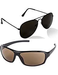 Unisex Uv Protected Combo Pack Of Aviator Sunglasses And Wrap Around Sunglasses ( Black Black - Brown Wrap ) (...