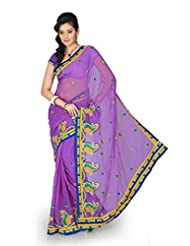 Designersareez Women Chiffon Embroidered Bright Mauve Saree With Unstitched Blouse(1189)