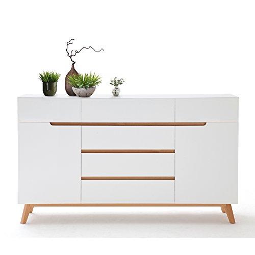 Design-Sideboard-CERVO-170-cm-Original-MCA-matt-weiss-lackiert-Eiche-Massiv-Beine