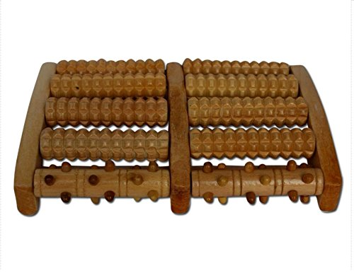 Foot Massager Roller FREE Ebook & Reflexology Chart - Wooden Rollers Relieve Stress, Plantar Fasciitis, Foot Pain. Massage Feet Stress Relief