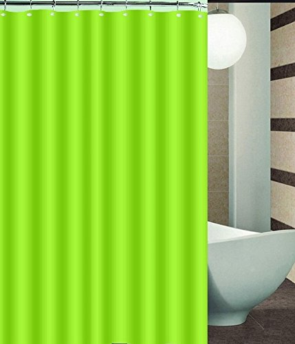 BH Home Mildew-Free Polyester Fabric Water Repellent Shower Curtain Liner (Lime Green)