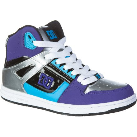 DC Women's Rebound Hi Sneaker,Black/White/Velvet/Purple,8.5 M US