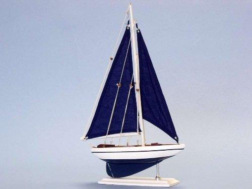 Pacific Sailer 17 Blue Sails Wood Sailing Boat Model Sail Decoration
