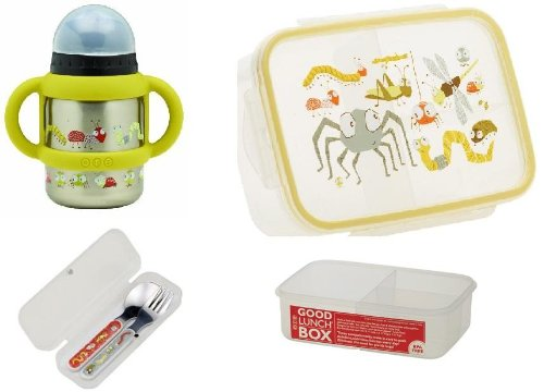 Sugarbooger Divided Good Lunch Box, Silverware, and Flip N Sip Cup Set, Icky Bugs