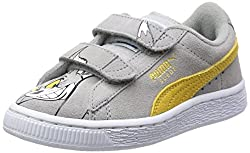 Puma Girls Suede T&J Tom V Kids Limestone Gray-Snapdragon Leather Chinese Shoes - 12 UK