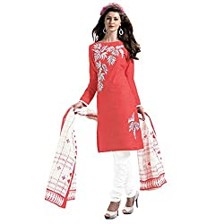 Govardhan Fashion orange and white colour cottan Unstitched Dress Material