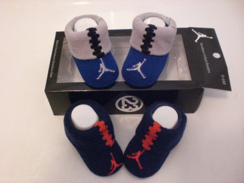Nike Air Jordan Newborn Infant Baby Booties Blue W/classic Jordan Air Jumpman Logo, Size 0-6 Months