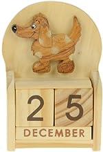 Perro : Hechos a mano calendario perpetuo de madera. Diversión peculiar de Navidad o idea del regalo de cumpleaños. Presente Comercio Justo (tamaño 10,5 x 7 x 3,5 cm)