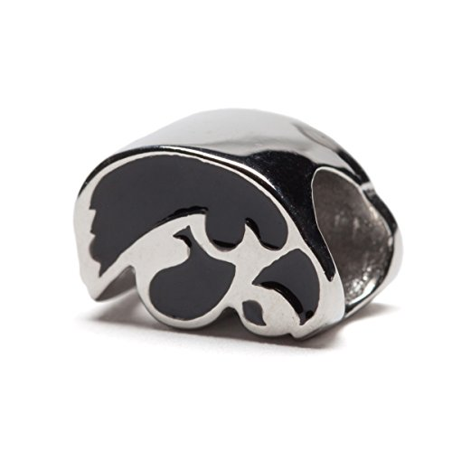 University of Iowa Hawkeyes Black Sideview Hawkeyes Logo Bead Charm