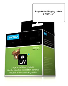 DYMO 30256 LabelWriter Self-Adhesive Large Shipping Labels, 2 5/16- by 4-inch, White, Roll of 300