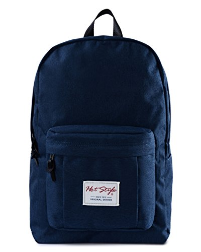 HotStyle 599s College Backpack Fits 15.6-inches Laptop - Lightweight & Waterproof School Bookbag Perfect for Junior Girls or Boys, Navy