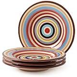 Tabletop Lifestyles 8-3/4-Inch Salad Plate, Sedona Stripe,Set of 4